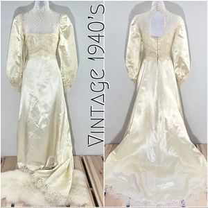 Vintage 1940's Ivory Satin, Lace, & Pearl Wedding